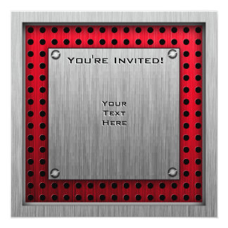 Brushed metal look Paintball 13 Cm X 13 Cm Square Invitation Card