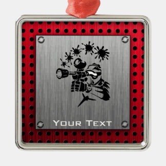 Brushed metal look Paintball Christmas Ornament