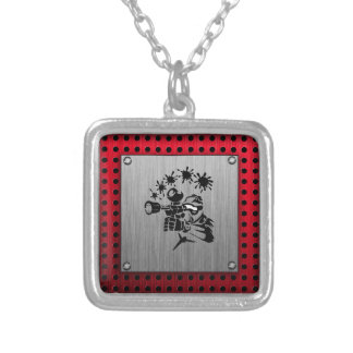 Brushed metal look Paintball Silver Plated Necklace
