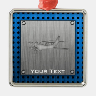Brushed Metal-look Plane Christmas Ornament