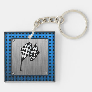 Brushed metal look Racing Flag Double-Sided Square Acrylic Key Ring