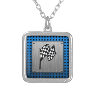 Brushed metal look Racing Flag Silver Plated Necklace