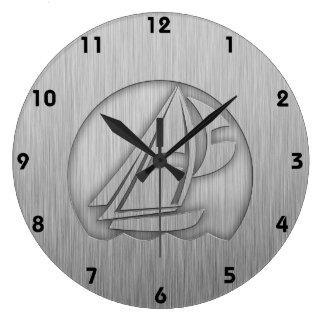 Brushed Metal-look Sailing Large Clock