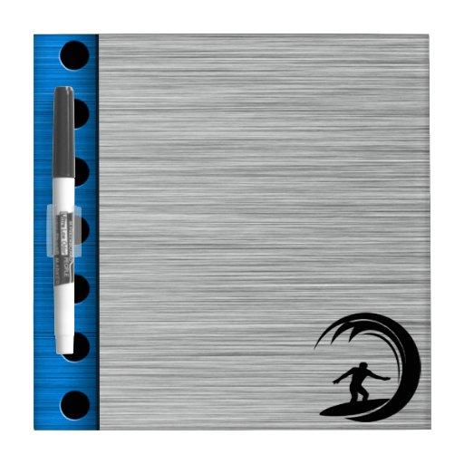 Brushed Metal look Surfing Dry-Erase Board