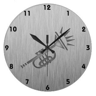 Brushed metal-look Trumpet Large Clock