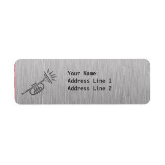 Brushed metal-look Trumpet Return Address Label