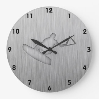 Brushed Metal-look Wakeboarder Large Clock
