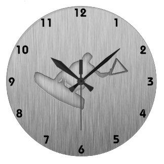 Brushed Metal-look Wakeboarder Wall Clocks