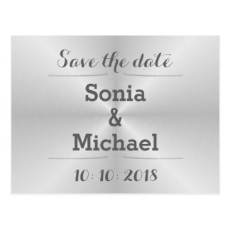Brushed Metal Save The Date Postcard