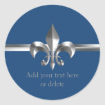 Brushed Metal Style Silver Fleur de Lis Blue Round Stickers