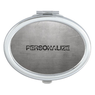 Brushed Metal Texture Compact Mirror