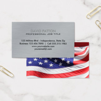 Brushed Metal USA Flag | Patriotic Military Business Card