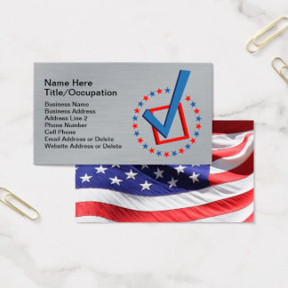 brushed metal vote usa flag politicians business card