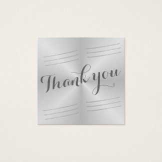 Brushed Metal Wedding Thank you Square Business Card