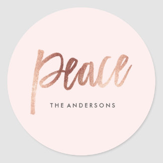 Brushed Peace Rose Gold Holiday Sticker