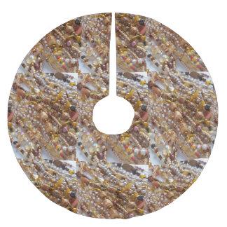 Brushed Polyester Tree Skirt- Earthtone Bead Print Brushed Polyester Tree Skirt