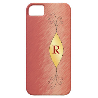 Brushed Red, Gold Shape & Swirls with Monogram iPhone 5 Covers