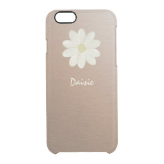 Brushed Rose Gold Gradient Daisy Personalised Clear iPhone 6/6S Case