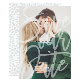Brushed Script Overlay Save the Date photo card 13 Cm X 18 Cm Invitation Card