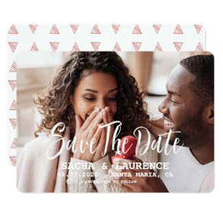 Brushed Script Save The Date Wedding Photo Card
