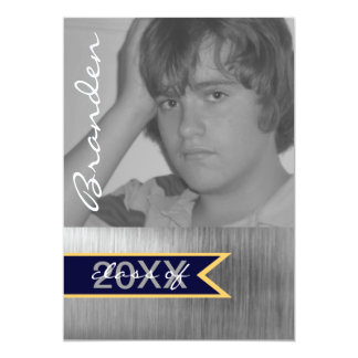 """Brushed Silver Metal Photo Graduation Announcement 5"""" X 7"""" Invitation Card"""