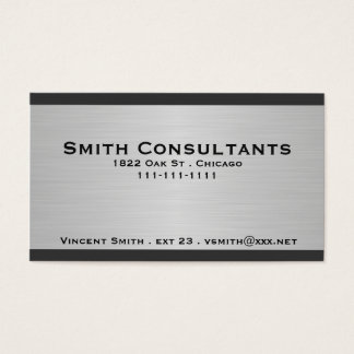 Brushed Silver Metallic and Black Border Business Card