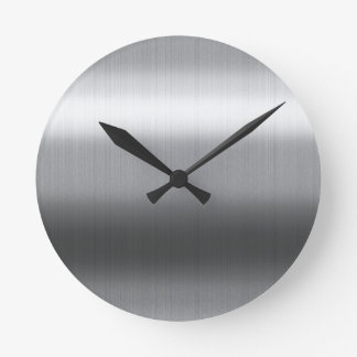 Brushed Stainless Round Clock