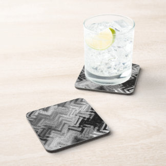 Brushed Steel Hard Plastic Coasters Set