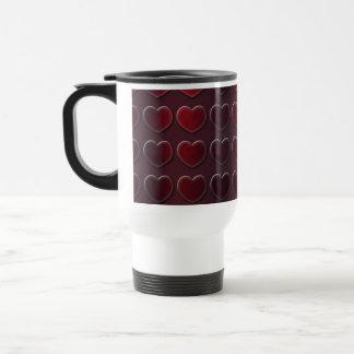Brushed Steel Metal Embossed Ruby Red Hearts Coffee Mugs