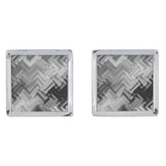 Brushed Steel Square Cufflinks by C.L. Brown Silver Finish Cuff Links