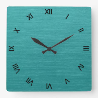 Brushed Teal Metal Look kash001 Roman Numerals Square Wall Clock