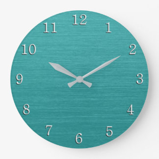 Brushed Teal Metal Look kash001 with White Numbers Wallclock