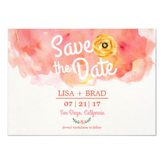 Brushed Watercolor Paint Save the Date invitation