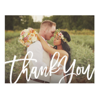 Brushed Wedding Thank You Postcard