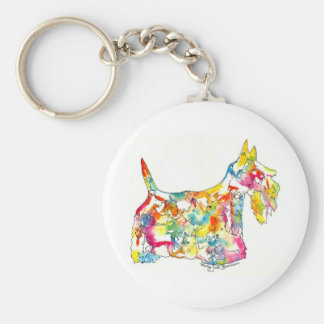 Brushfolks Scotties in A Scotty Basic Round Button Key Ring