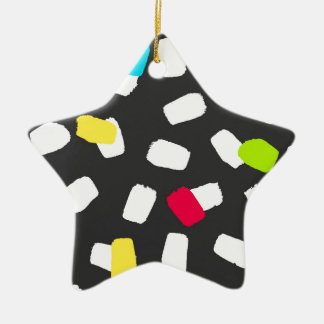 Brushstroke Brights on Grey Christmas Ornament