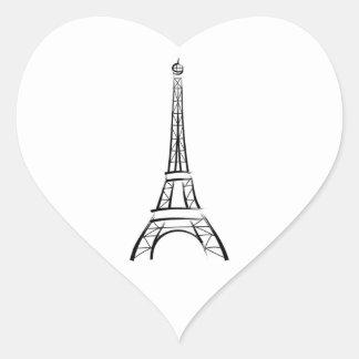 Brushstroke Eiffel Tower Wedding Hearts Stickers