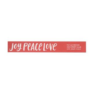 Brushstroke Joy Peace Love Wraparound Labels - Red