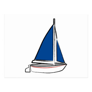 Brushstroke Ship with Blue Sail Postcard
