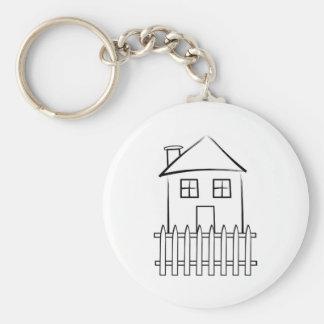 Brushstroke White Picket Fence House Basic Round Button Key Ring