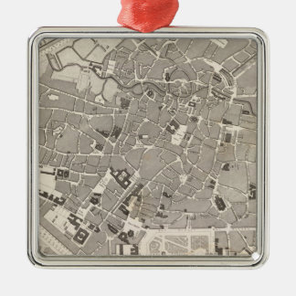 Brussels and Belgium Silver-Colored Square Decoration