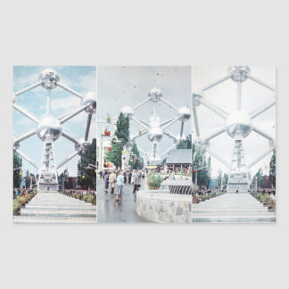 Brussels Atomium Photo Collage Rectangular Sticker