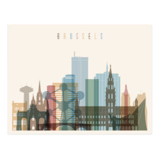 Brussels, Belgium | City Skyline Postcard
