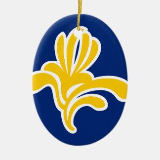 Brussels (Belgium) Flag Ceramic Oval Decoration