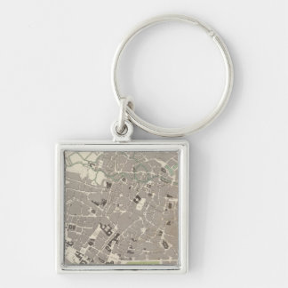 Brussels Bruxelles Silver-Colored Square Key Ring