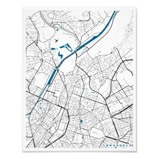 Brussels City Map Art Photo