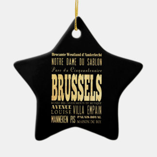 Brussels City of Belgium Typography City Art Ceramic Star Decoration