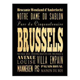 Brussels City of Belgium Typography City Art Postcard