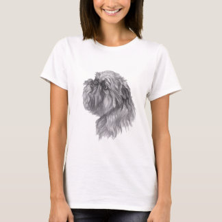 Brussels Griffon Dog Charcoal Art Drawing T-Shirt