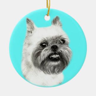 Brussels Griffon Dog Drawing Christmas Ornament